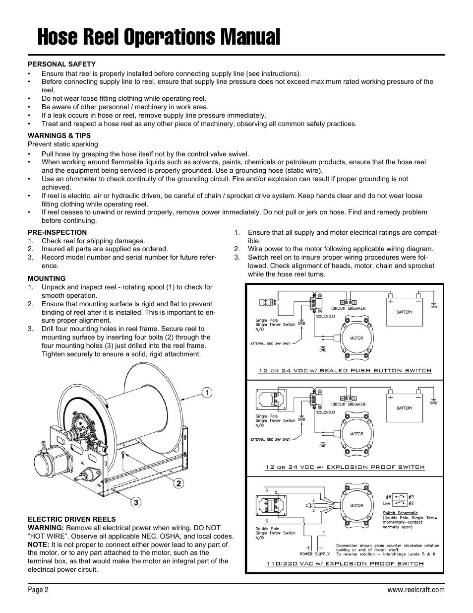 hose reel operations manual reelcraft nordic series 2400. Black Bedroom Furniture Sets. Home Design Ideas