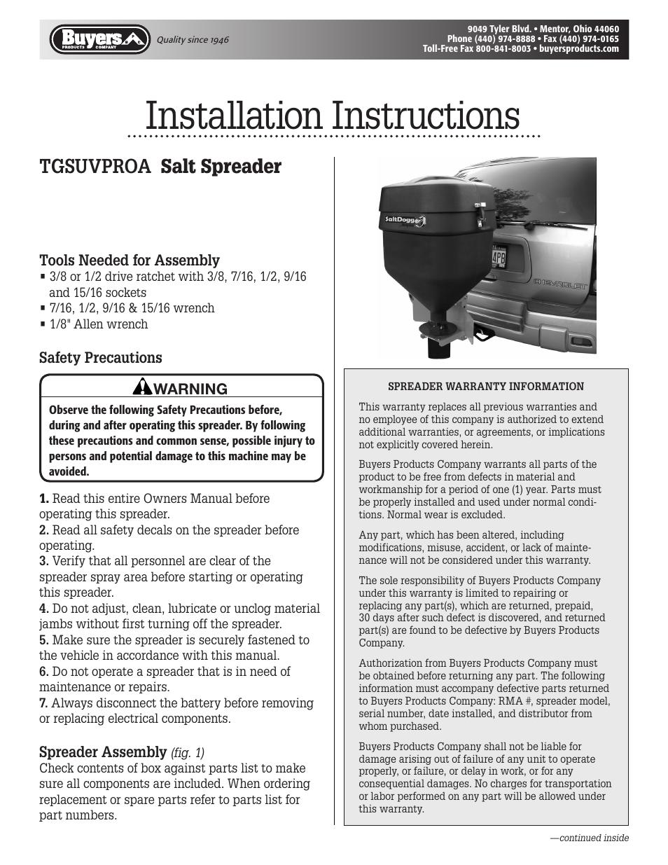 Saltdogg Tgsuvproa Salt Spreader User Manual 4 Pages Tailgate Wiring Diagram