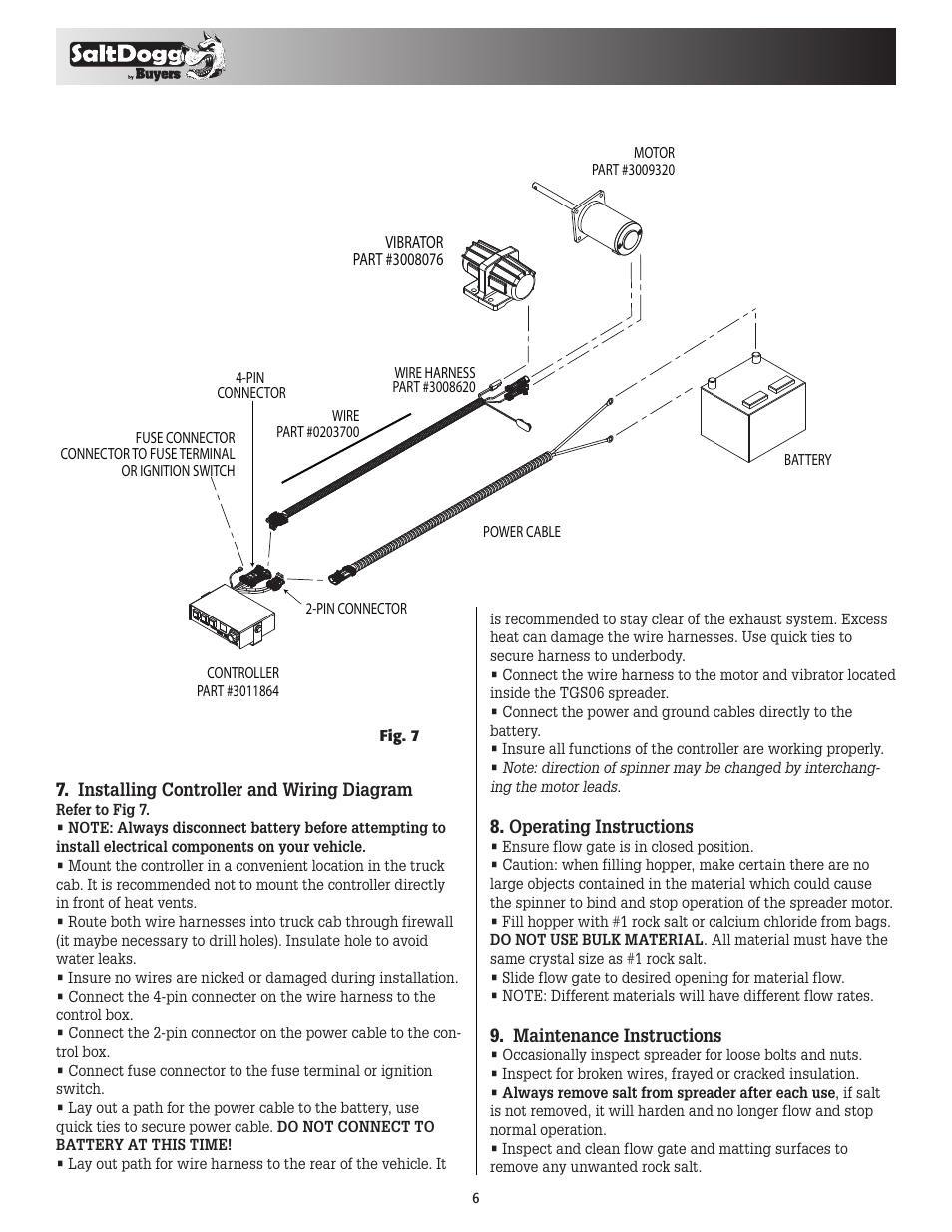 Saltdogg Tgs06 Salt Spreader User Manual Page 6 8 4 Pin Wire Harness