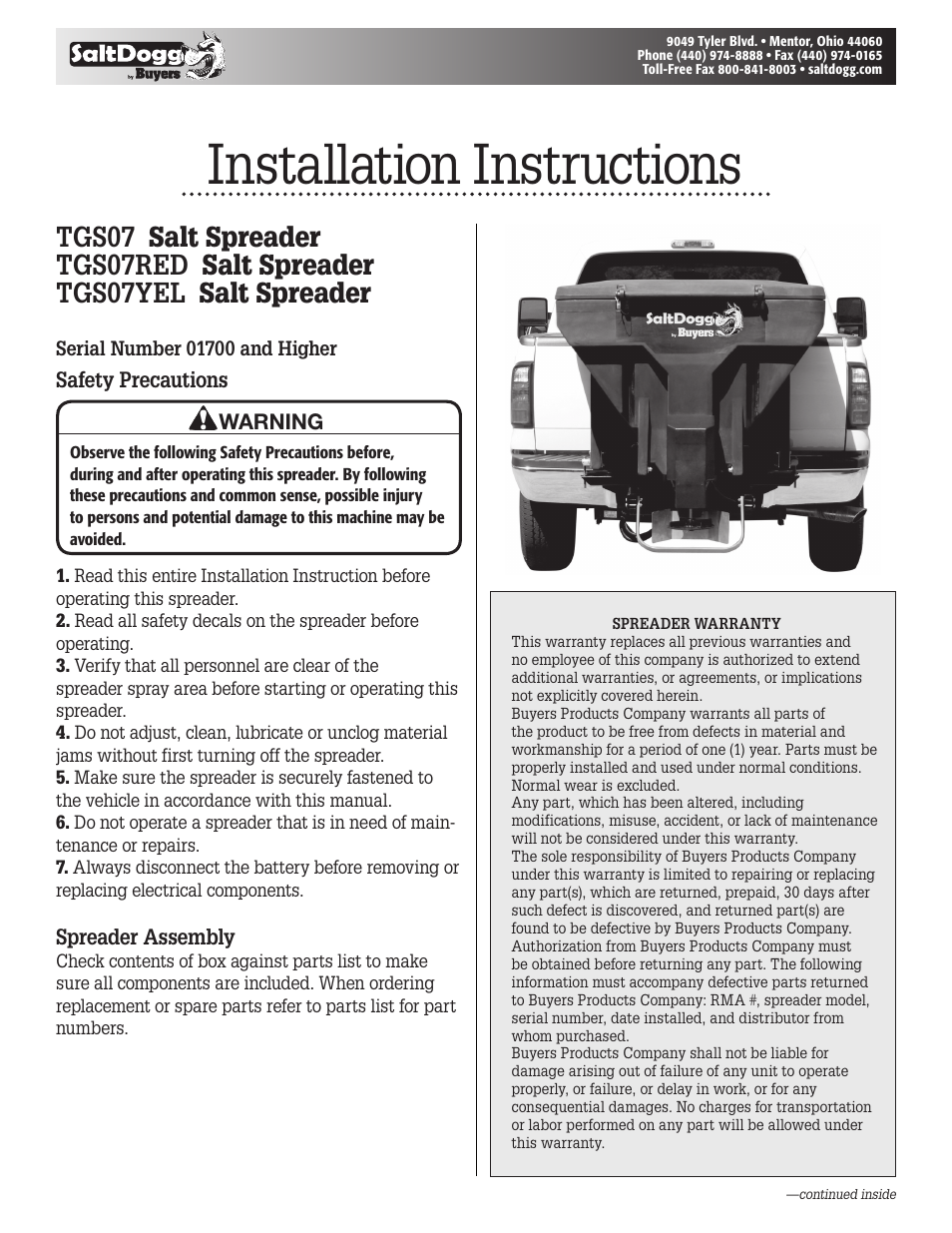 Saltdogg Tgs07yel Salt Spreader User Manual