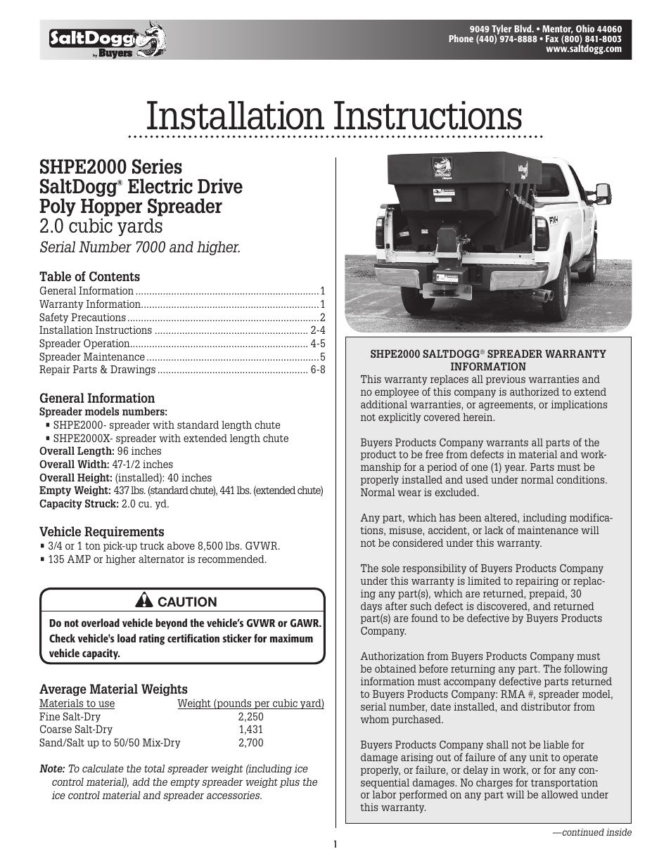 Buyers Saltdogg Shpe2000 Salt Spreader Wiring Diagram Series Electric Drive Poly Hopper V3 User Manual 8 Pages
