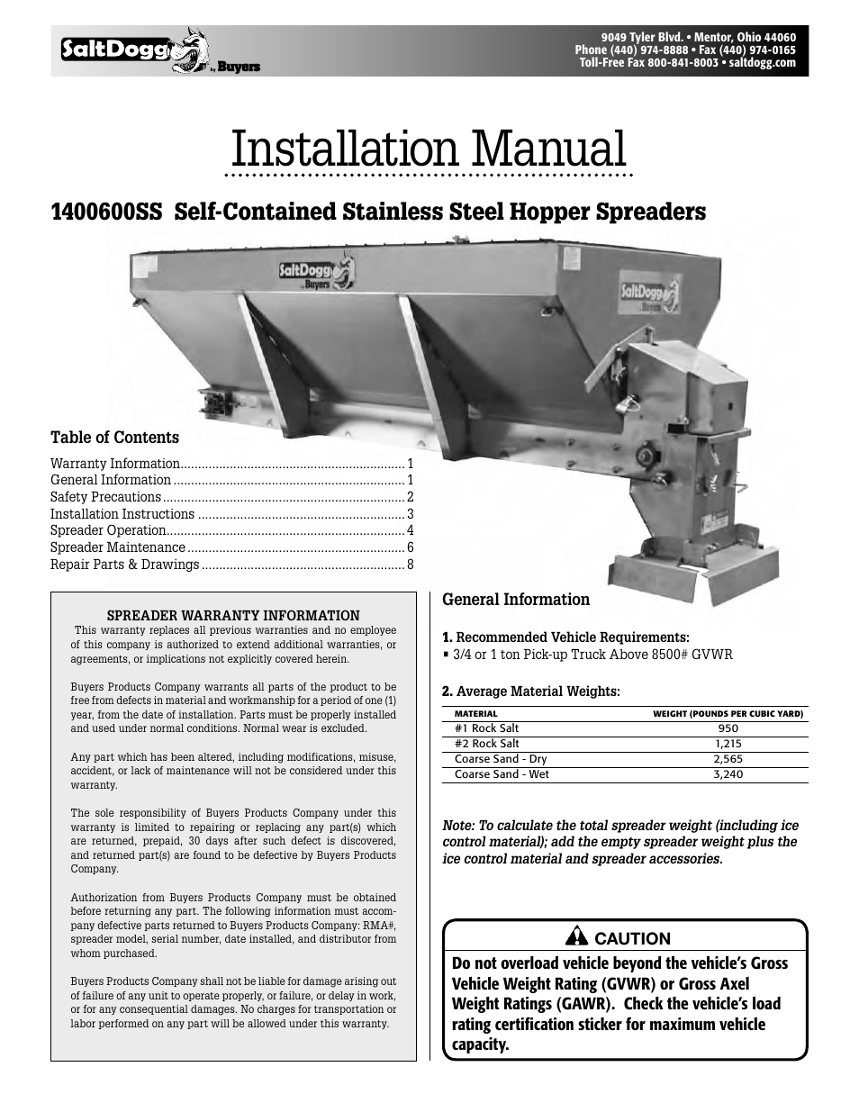 Saltdogg 1400600ss Self Contained Stainless Steel Hopper Spreaders Buyers Salt Spreader Wiring Diagram User Manual 8 Pages
