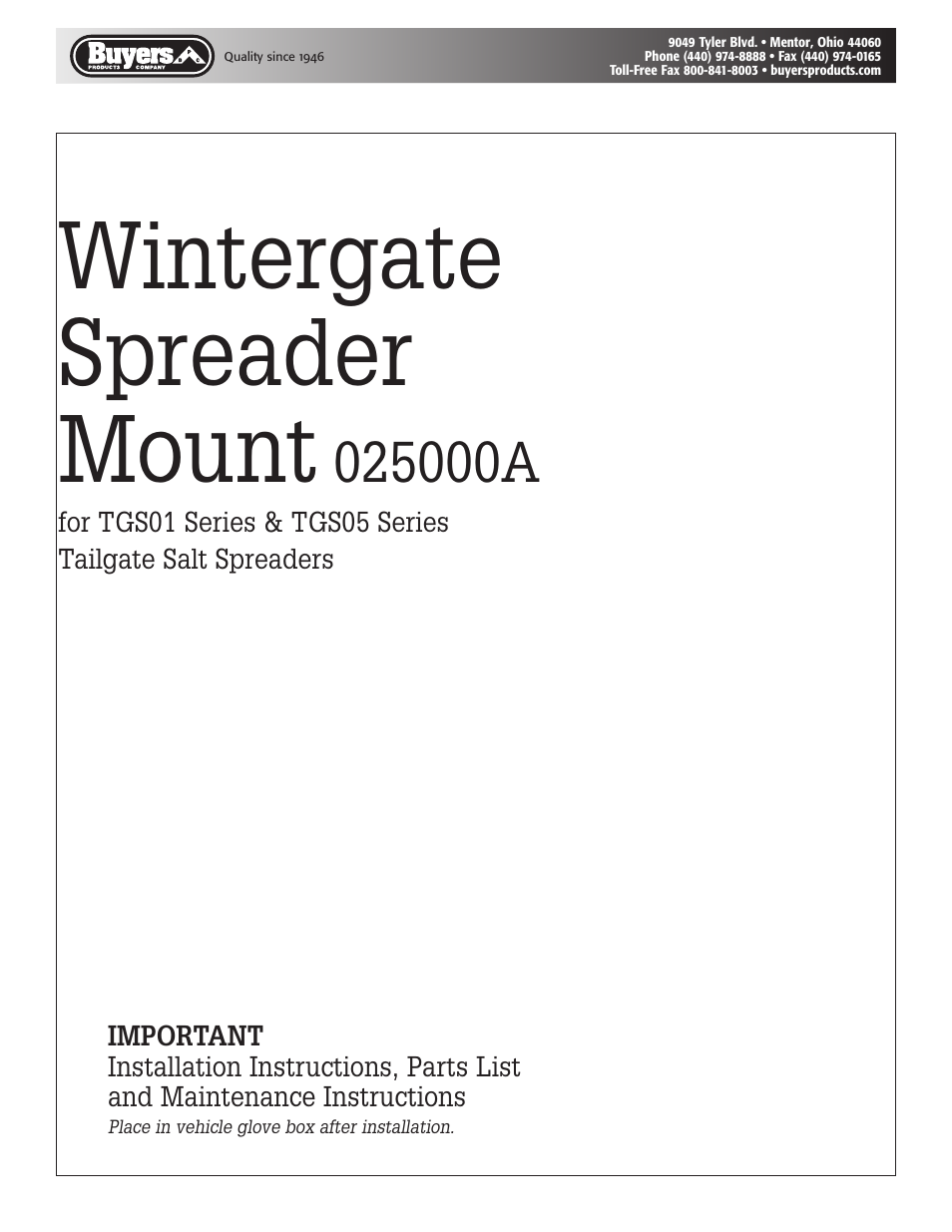 Saltdogg 025000a Wintergate Spreader Mount For Tgs01 Series Tgs05 Tailgate Salt Wiring Diagram User Manual 4 Pages