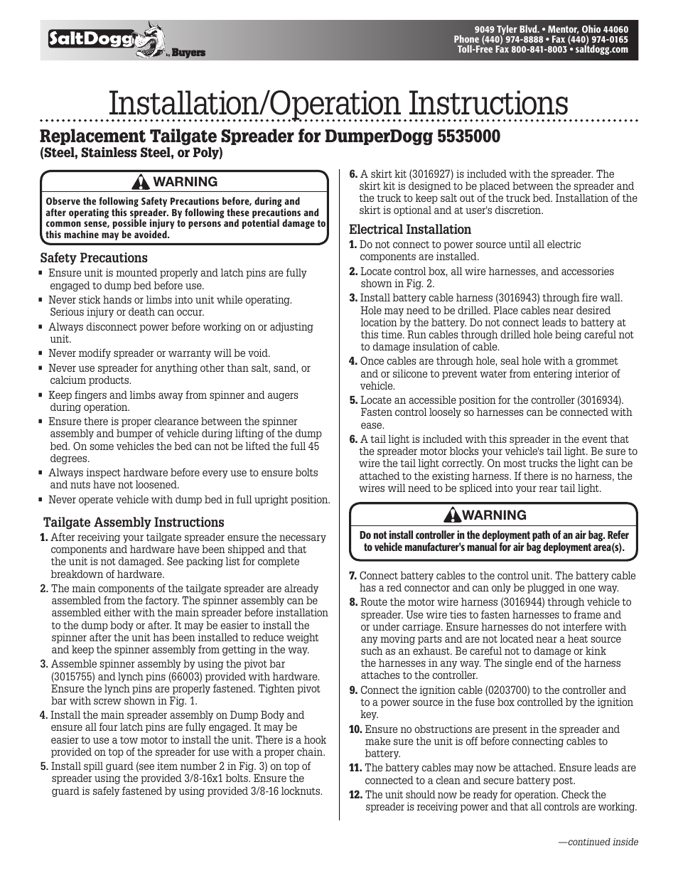 Saltdogg Replacement Tailgate Spreader For Dumperdogg 5535000 User Salt Wiring Diagram Manual 4 Pages