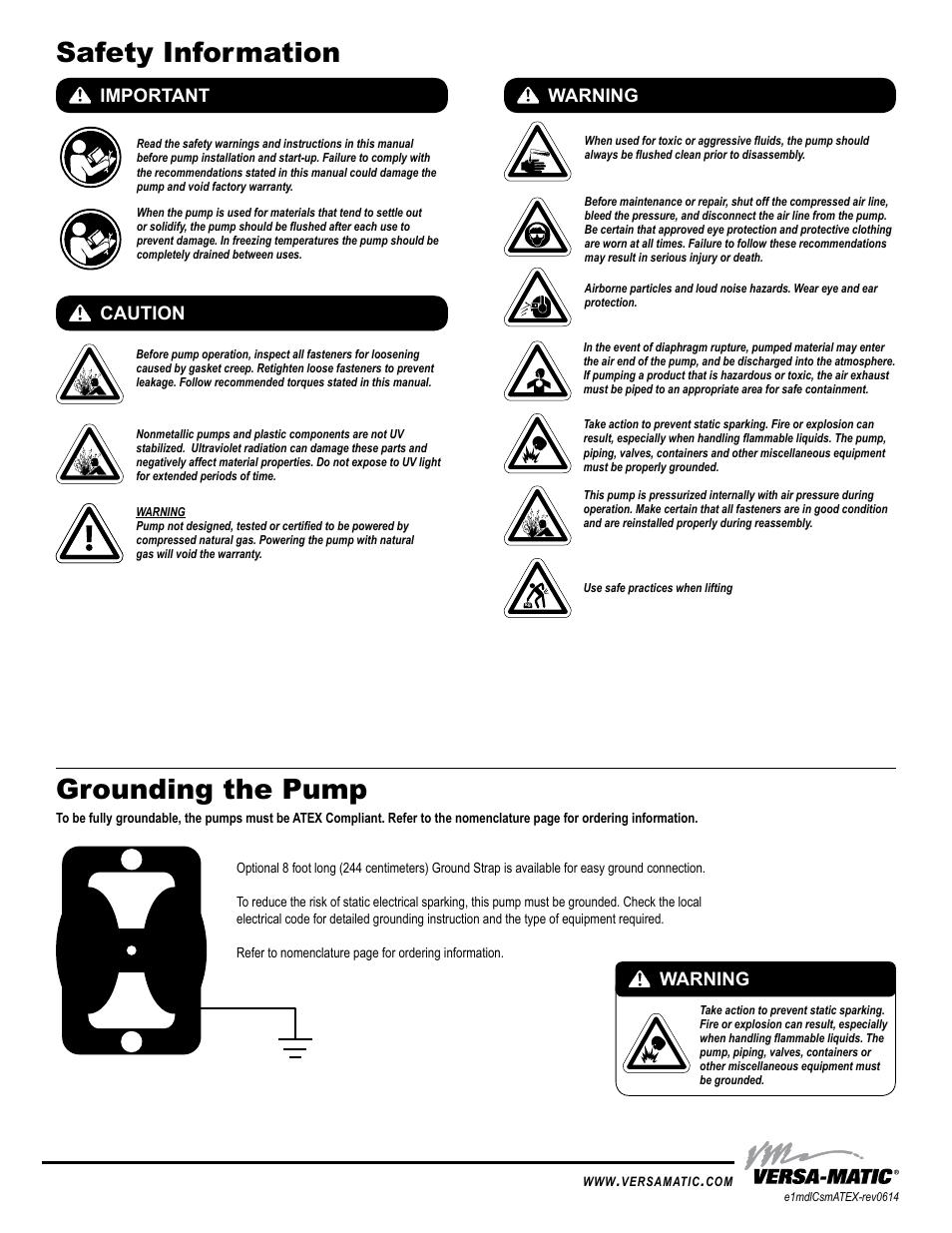 ... Array - safety information grounding the pump important caution warning  rh manualsdir com