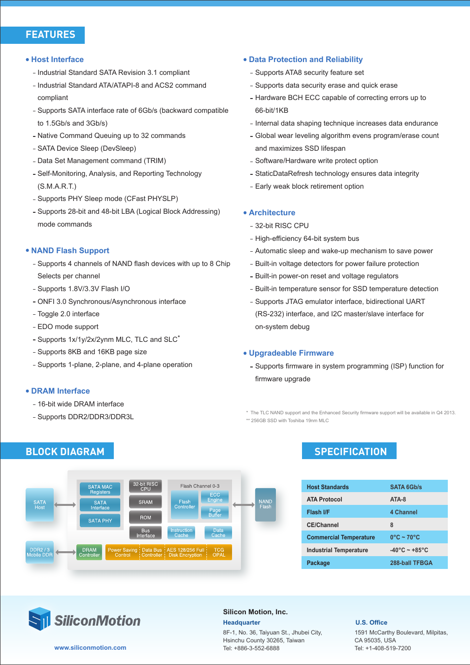 Block diagram specification, Features | Silicon Motion