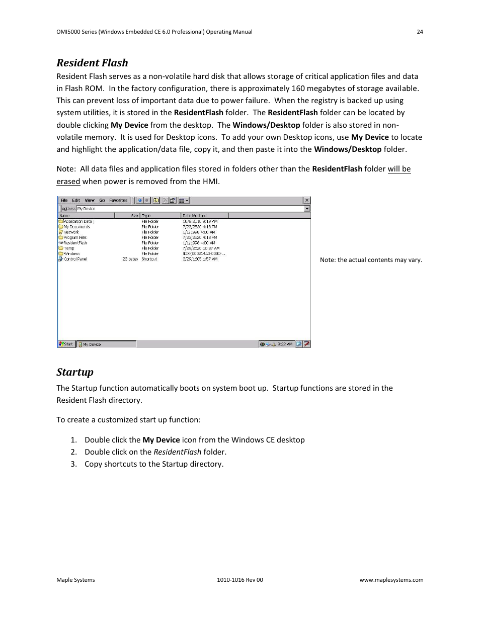 Resident flash, Startup | Maple Systems Windows CE Embedded 6.0  Professional Edition User Manual | Page 28 / 40