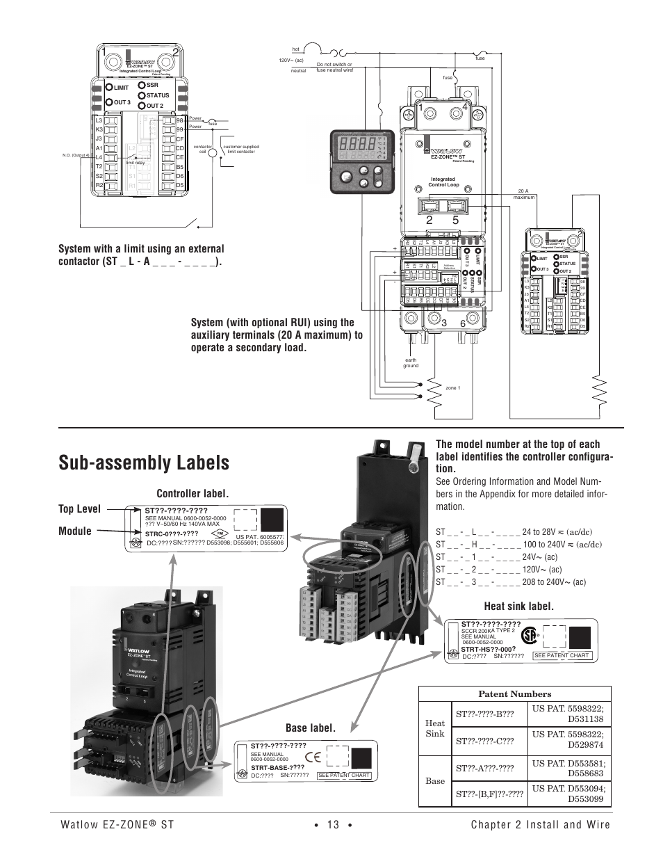 Subassembly labels Watlow ezzone Chapter 2 install and wire – Ez-zone Wire Diagram