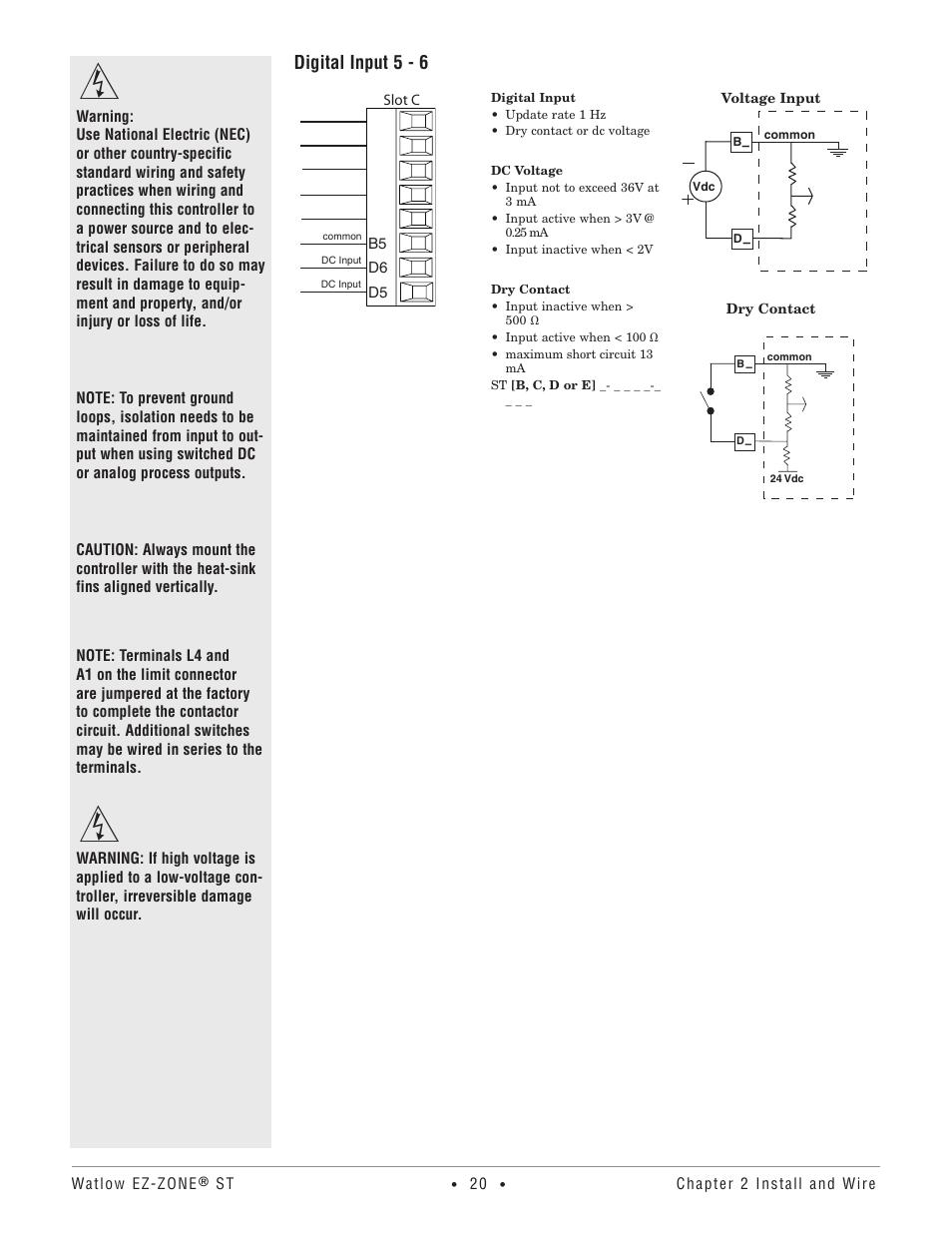 Digital input 5 - 6 | Watlow EZ-ZONE ST User Manual | Page 22