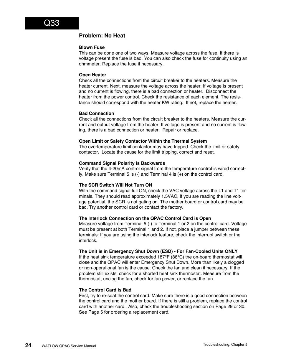 Problem No Heat Q33 Troubleshooting Watlow Qpac Modular Scr Bad Circuit Breaker Power Control Service User Manual Page 24 43