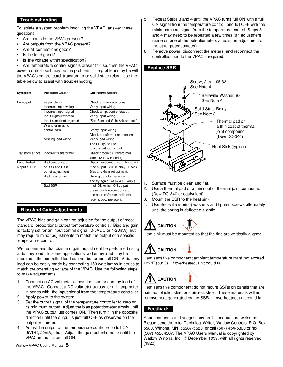 Troubleshooting Bias And Gain Adjustments Replace Ssr Watlow Solidstaterelay Schematic Feedback Starting Out