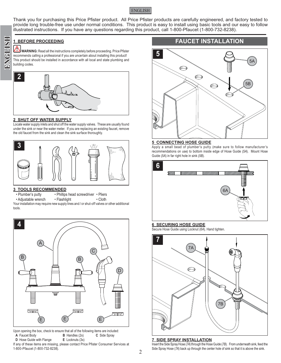 English Faucet Installation Pfister F 036 Cl4s User Manual Page