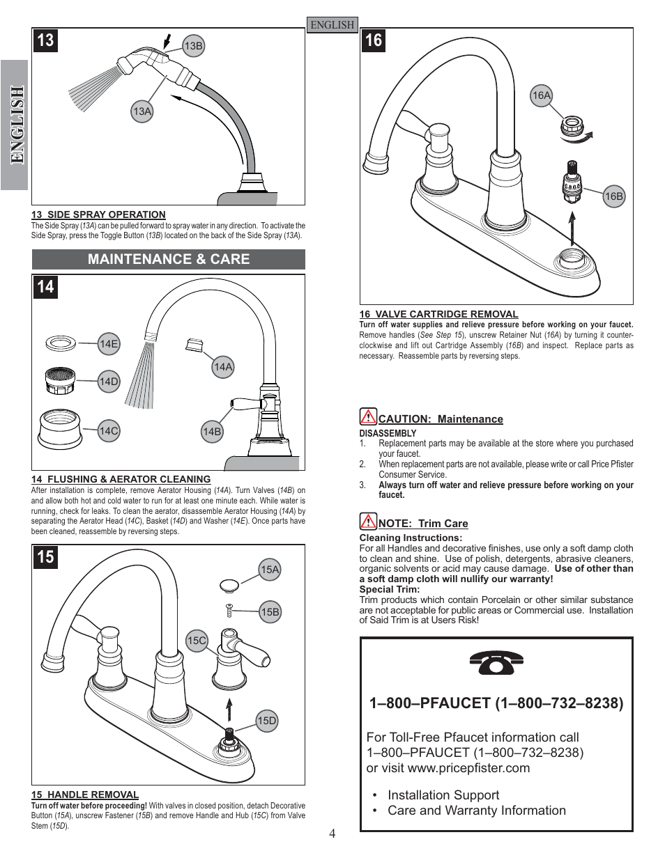 English Maintenance Care Pfister F 036 Cl4s User Manual Page 4 12
