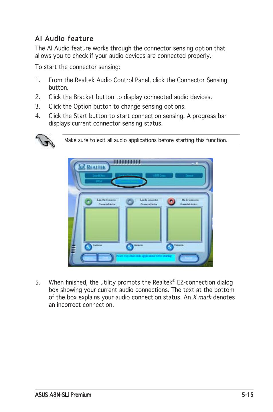 Ai audio feature | Asus Motherboard A8N-SLI Premium User Manual ...
