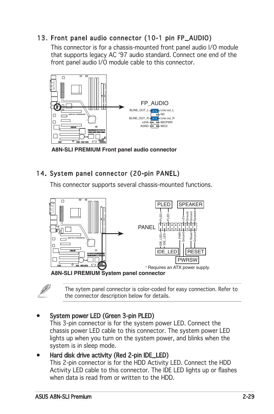 Asus a8n-sli premium 2-29, A8n-sli premium system panel connector, Panel |  Asus Motherboard A8N-SLI Premium User Manual | Page 55 / 182