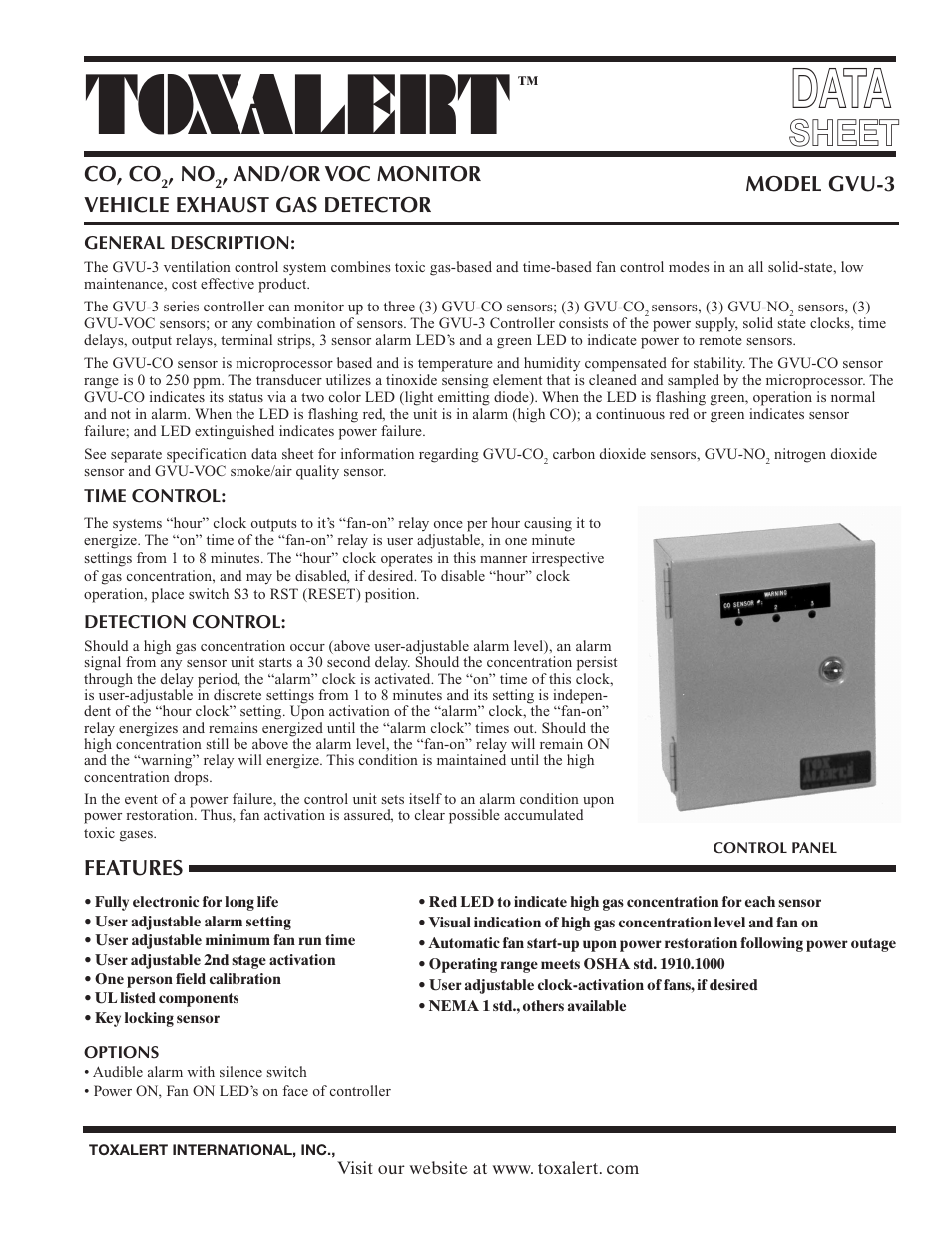 Toxalert Gvu 3 User Manual 4 Pages