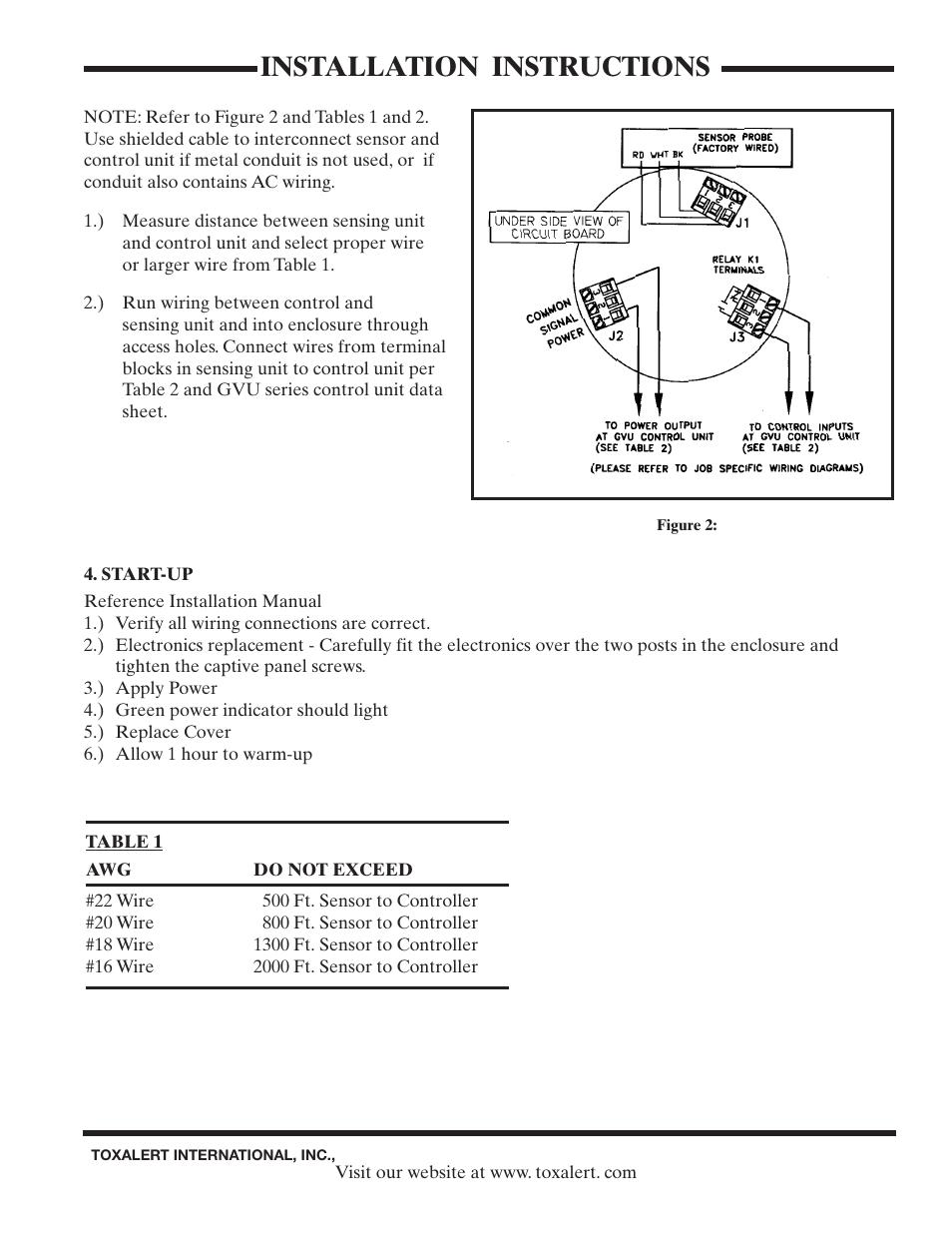 Installation Instructions Toxalert Gvu No2 User Manual Page 3 4 4541 Datasheet