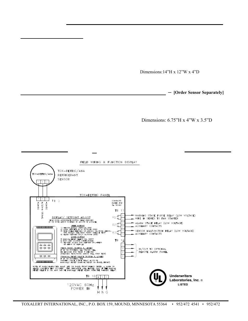 Tox Refrig Monitor Toxalert User Manual Page 4 Votage Bacnet Wiring