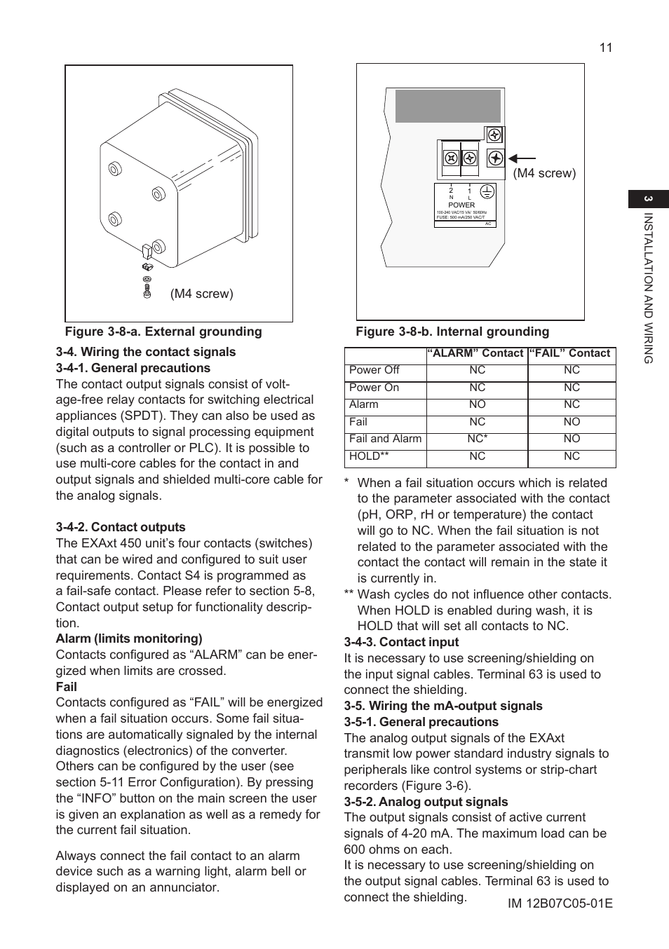 4. wiring the contact signals, 4-1. general precautions, 4-2. contact  outputs | Yokogawa EXAxt PH450 4-Wire Analyzer for pH and ORP User Manual |  Page 19 / ...