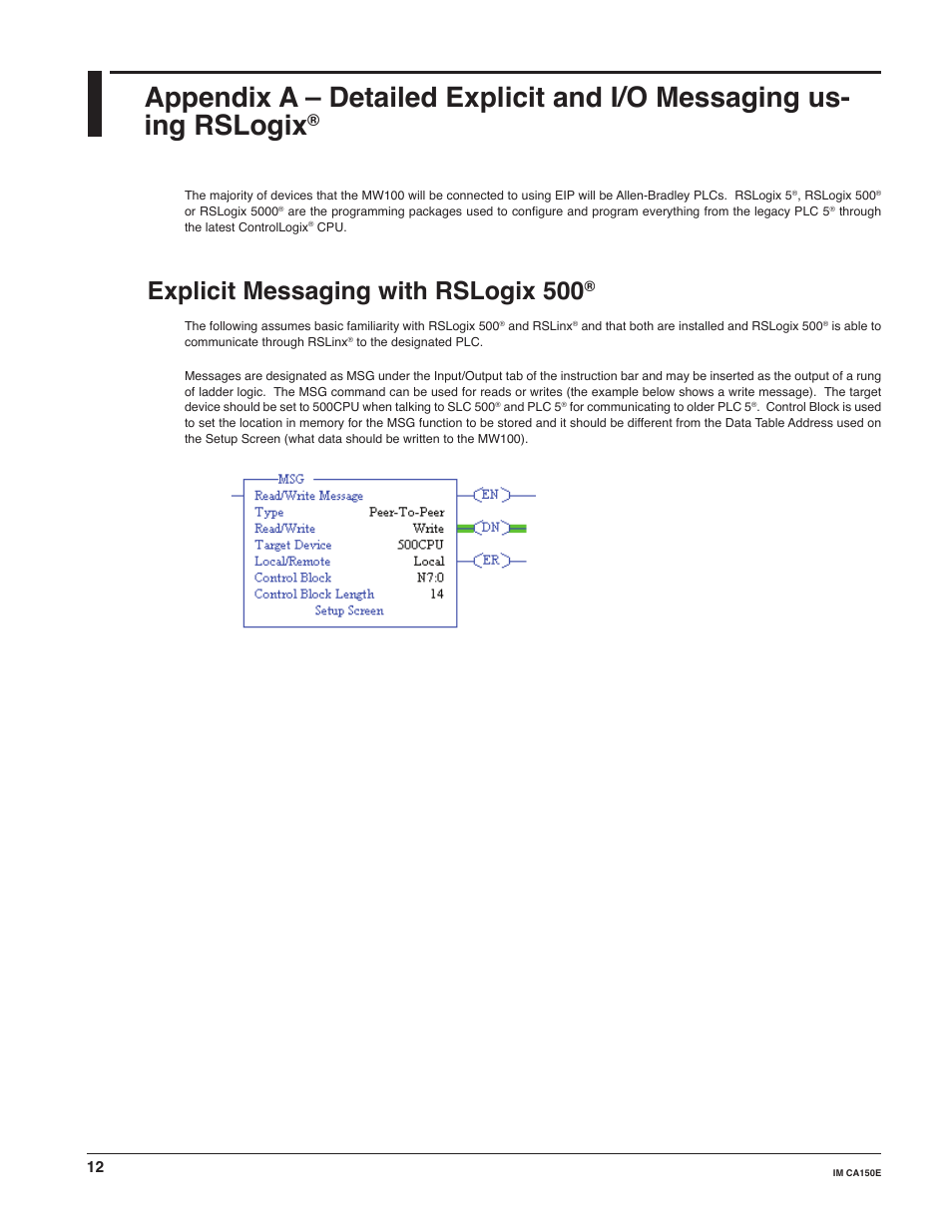 Explicit messaging with rslogix 500   Yokogawa Standalone