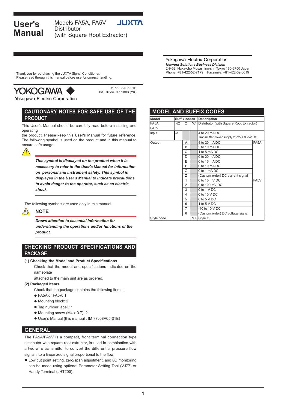 Yokogawa Juxta Fa5v Distributor With Square Root Extractor User