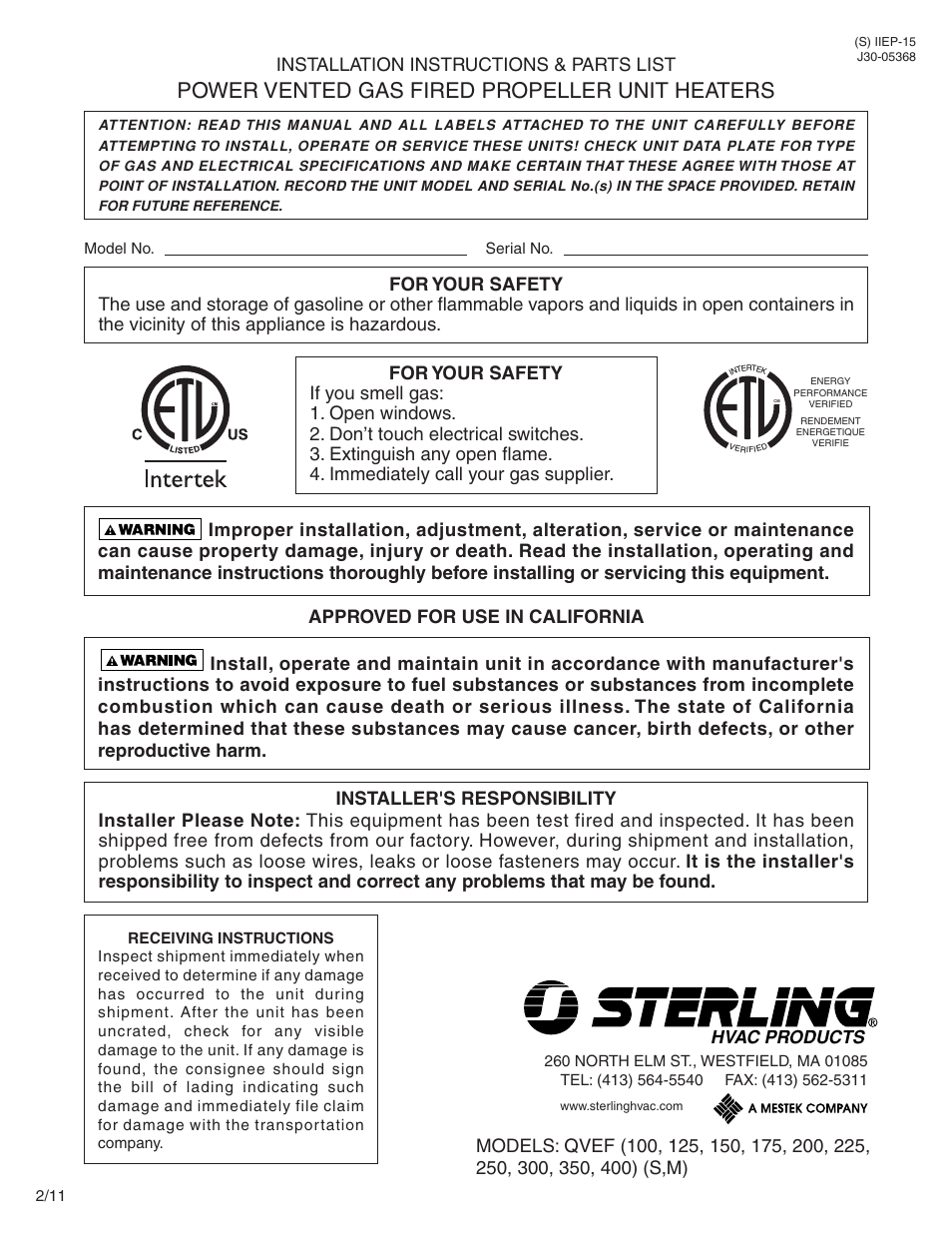 Sterling QVEF User Manual | 28 pages on water heater diagram, unit heater parts, unit heater exhaust, modine heater parts diagram, unit heater installation, electric furnace diagram, robertshaw ignition control diagram, gas furnace control board diagram, unit heater troubleshooting, groundwater diagram, fan coil unit diagram, gas furnace electrical diagram,