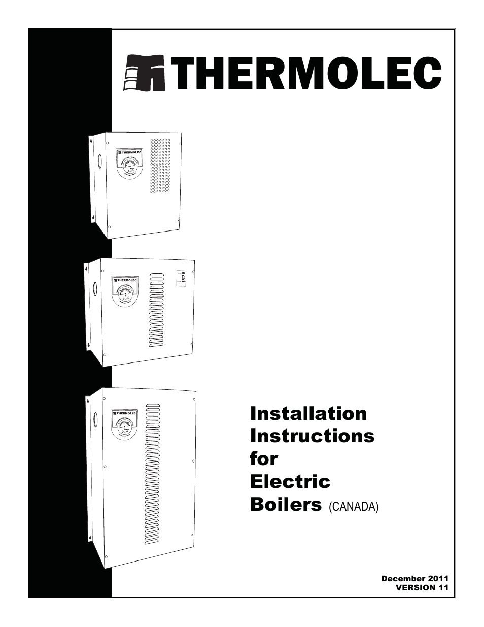 Thermolec Standard Boiler User Manual 21 Pages
