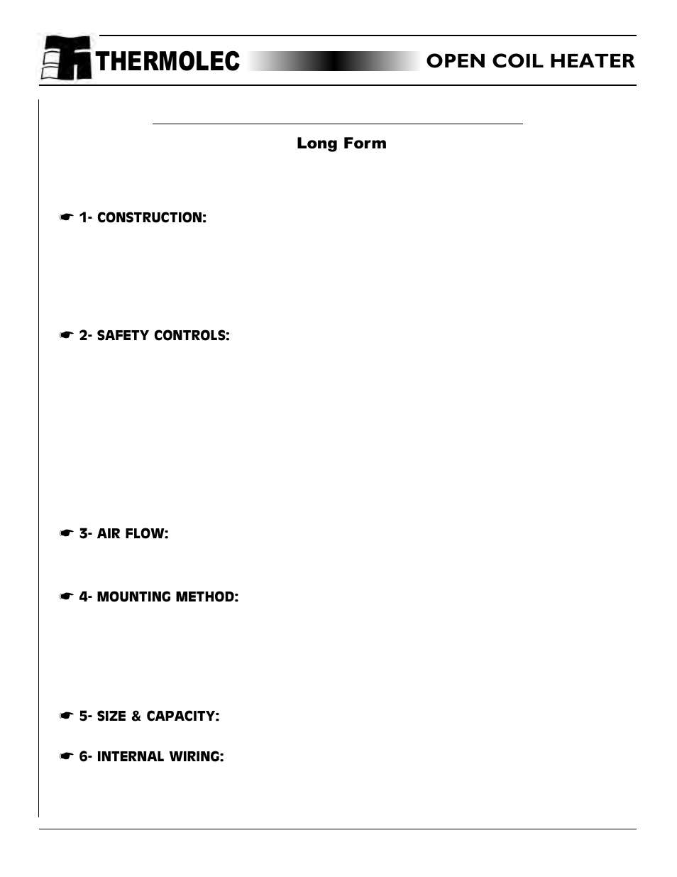 thermolec application technical notes page39 open coil heater specification, specification for open coil thermolec duct heater wiring diagram at mifinder.co