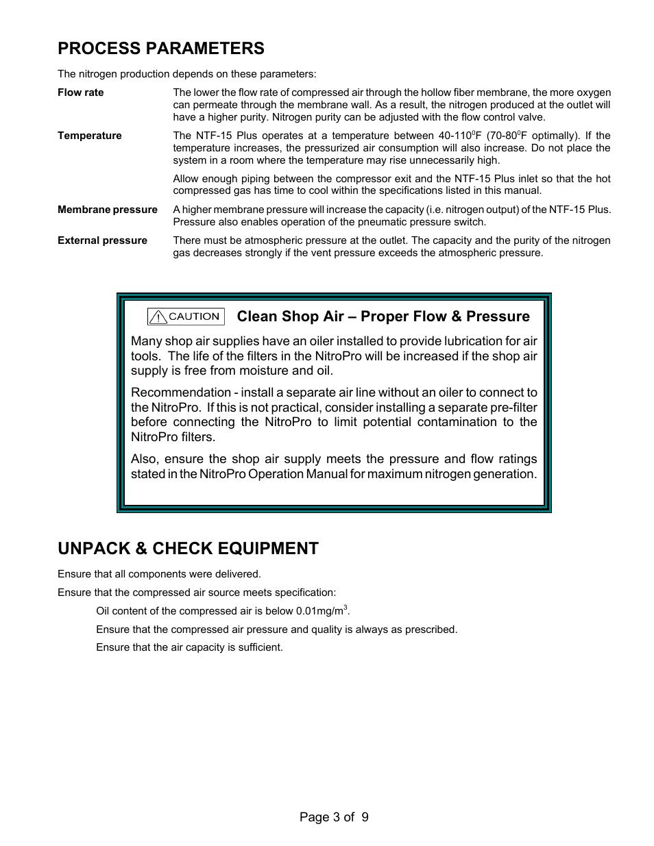 Process parameters, Unpack & check equipment, Clean shop air