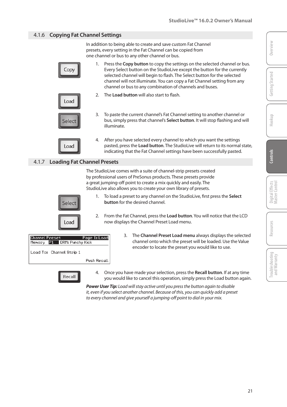 Channel selection by operating the dial