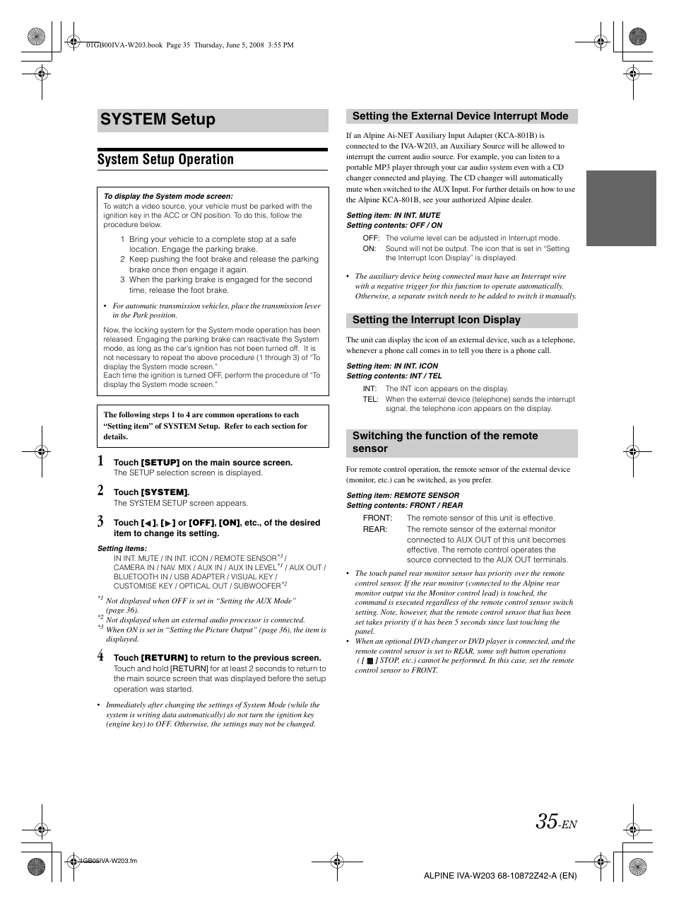 Alpine Iva W203 Wiring Diagram Free Download D310 System Setup Operation User Manual Clayton Mobile Home