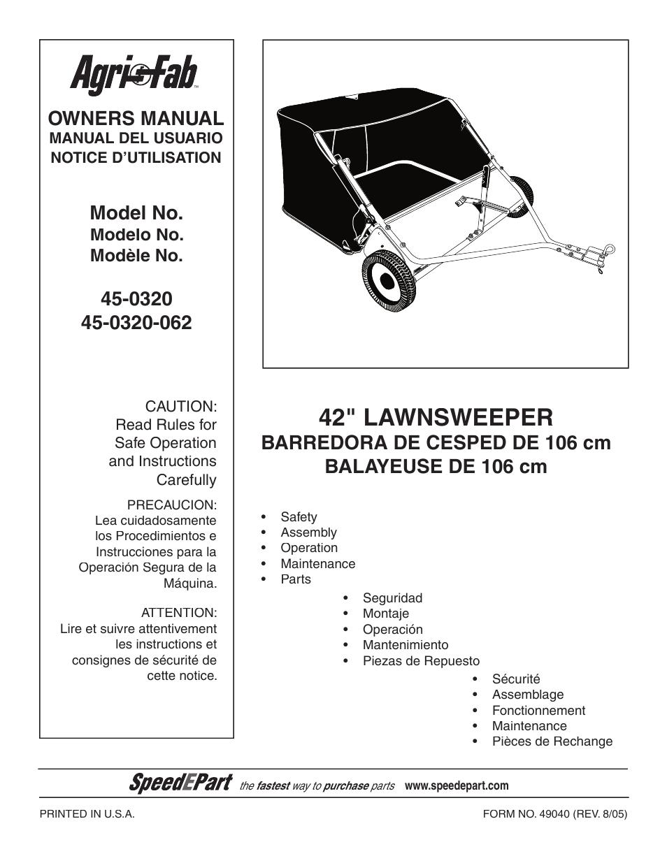 agri fab 45 0320 user manual 28 pages rh manualsdir com Agri-Fab Lawn Vacuum Parts List Agri-Fab Spreader Parts List