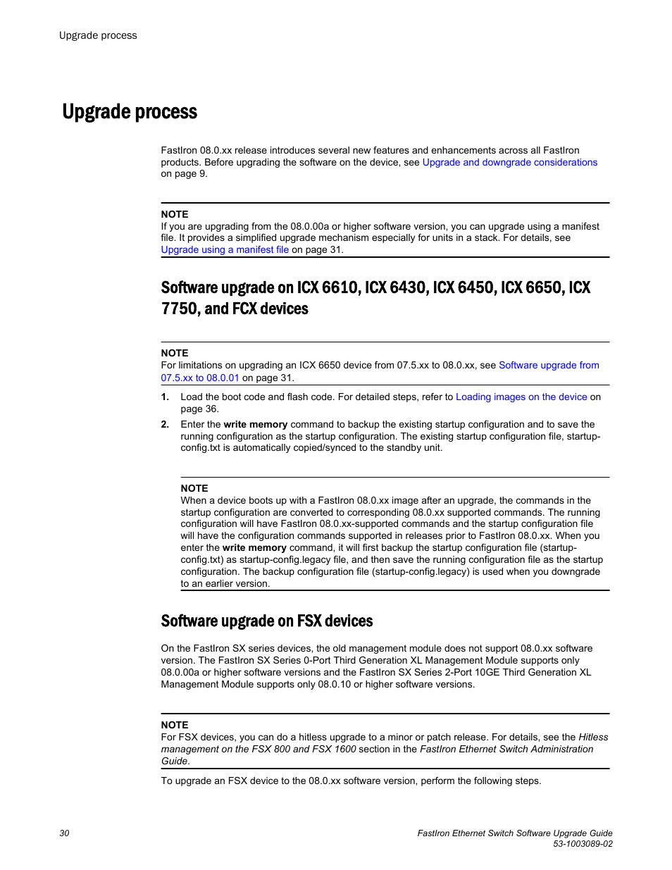 Upgrade process, Software upgrade on fsx devices, Icx 7750, and fcx