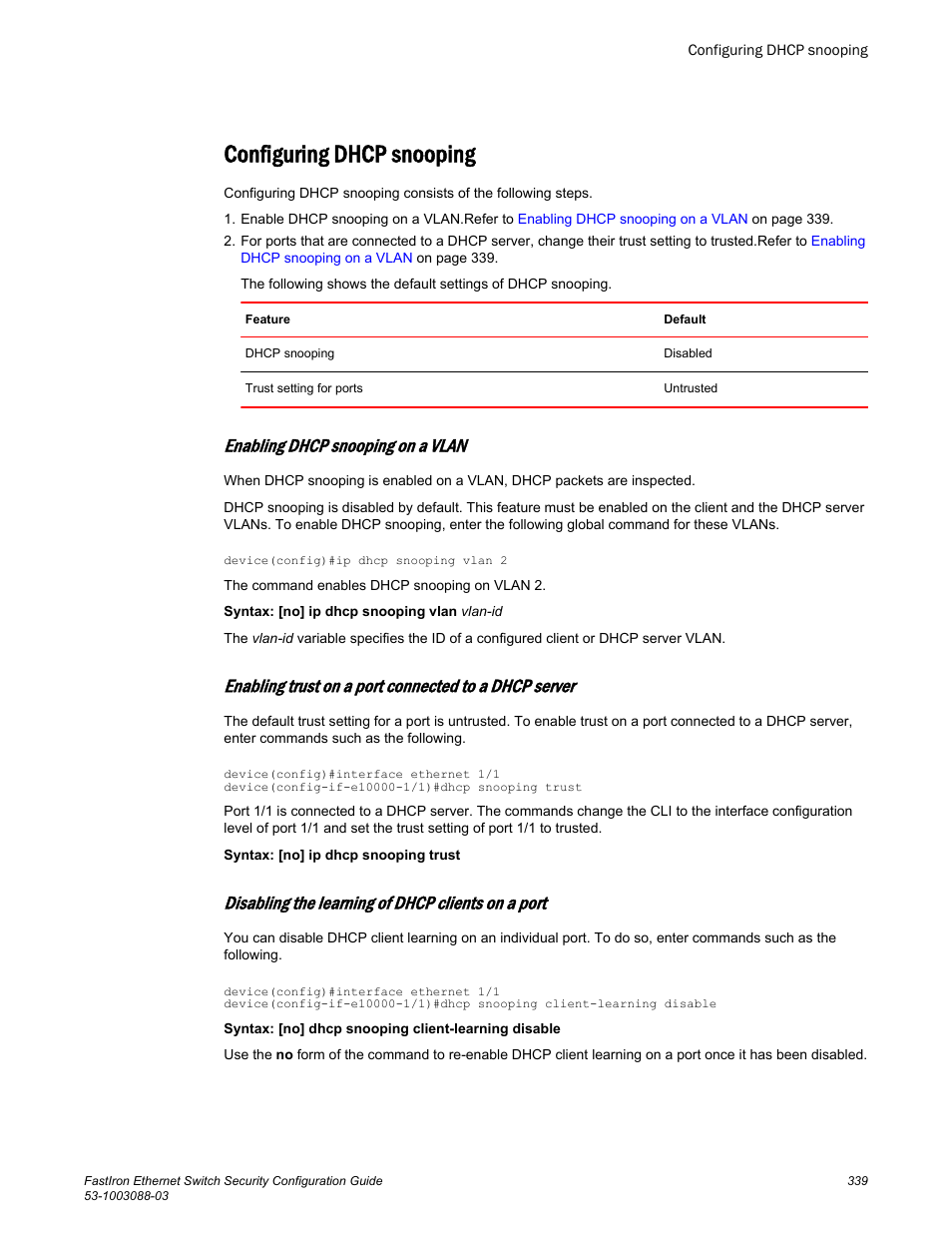 Configuring dhcp snooping, Enabling dhcp snooping on a vlan