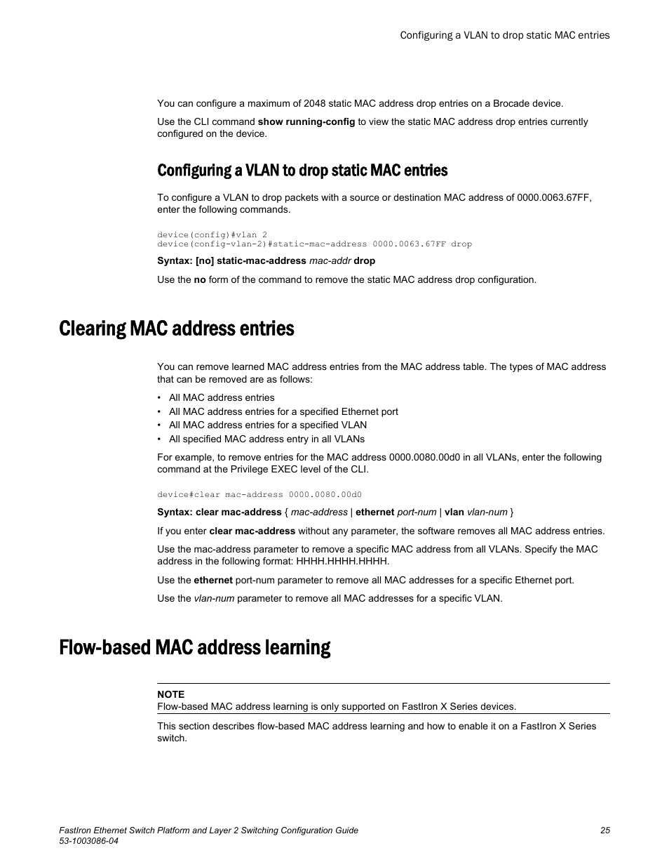 Configuring a vlan to drop static mac entries, Clearing mac