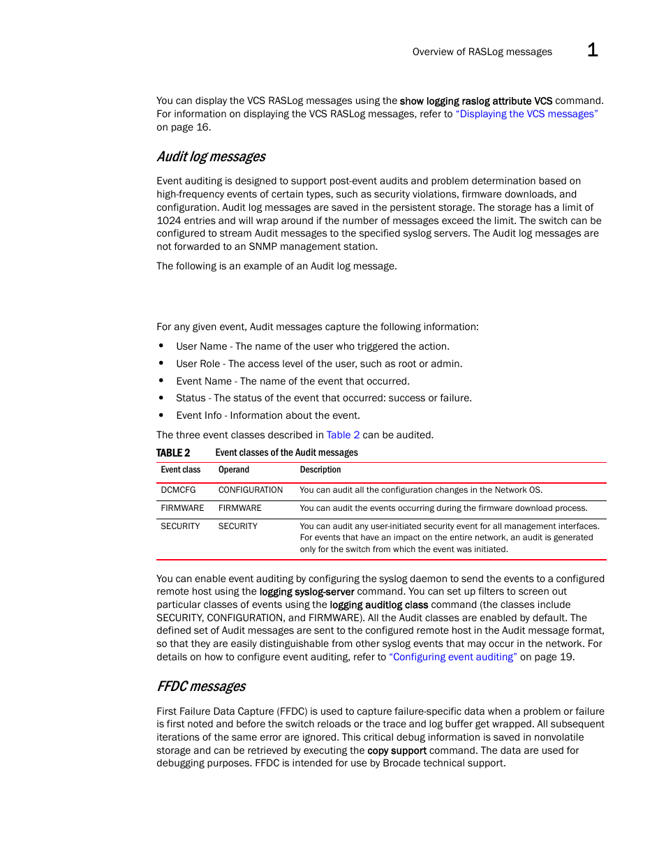 Audit log messages, Ffdc messages | Brocade Network OS