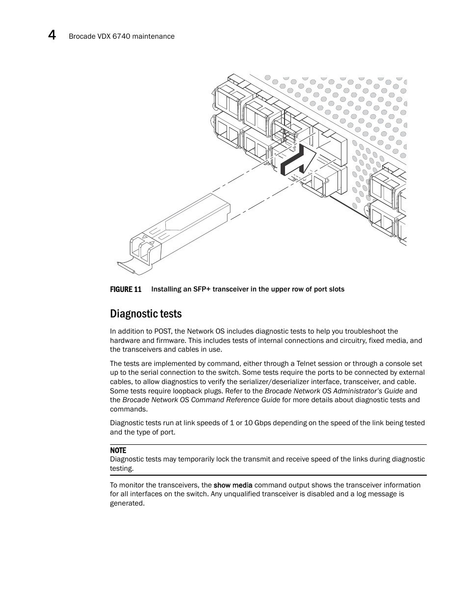 Diagnostic tests | Brocade VDX 6740 Hardware Reference Manual
