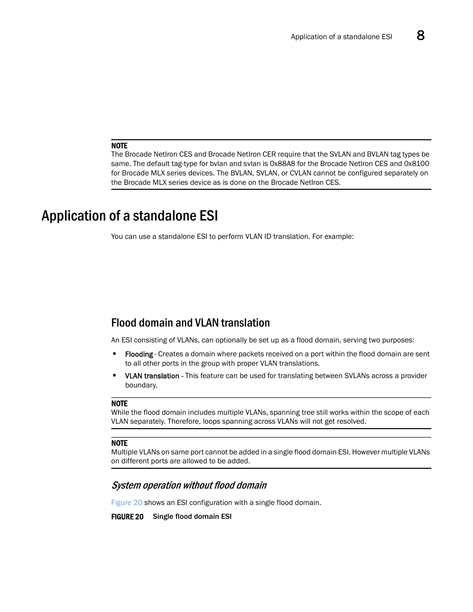 Application of a standalone esi, Flood domain and vlan