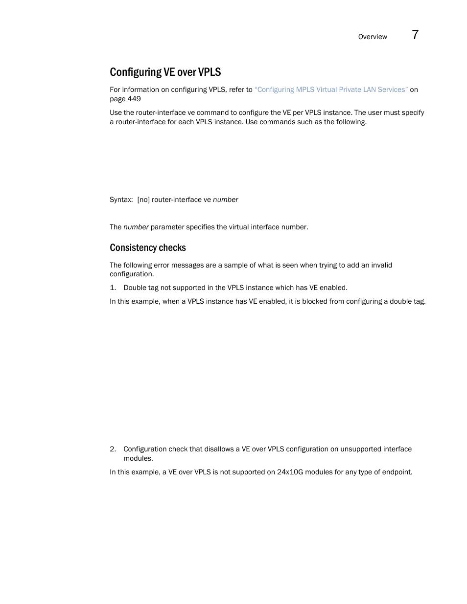 Configuring ve over vpls, Consistency checks | Brocade Multi-Service