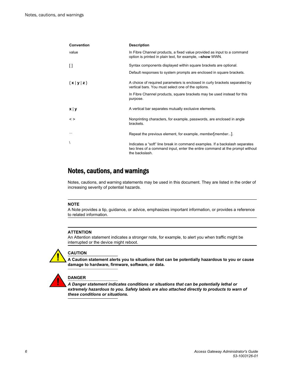 notes cautions and warnings brocade access gateway rh manualsdir com Va Code 8.01 380 Virginia Code 8.01 428