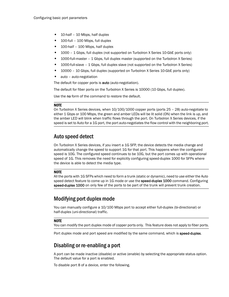 Auto speed detect, Modifying port duplex mode, Disabling or
