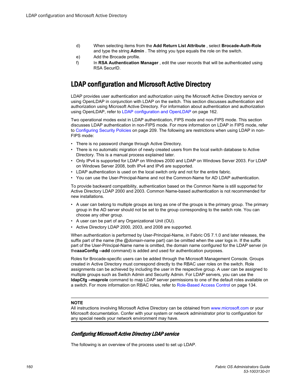 Ldap configuration and microsoft active directory | Brocade