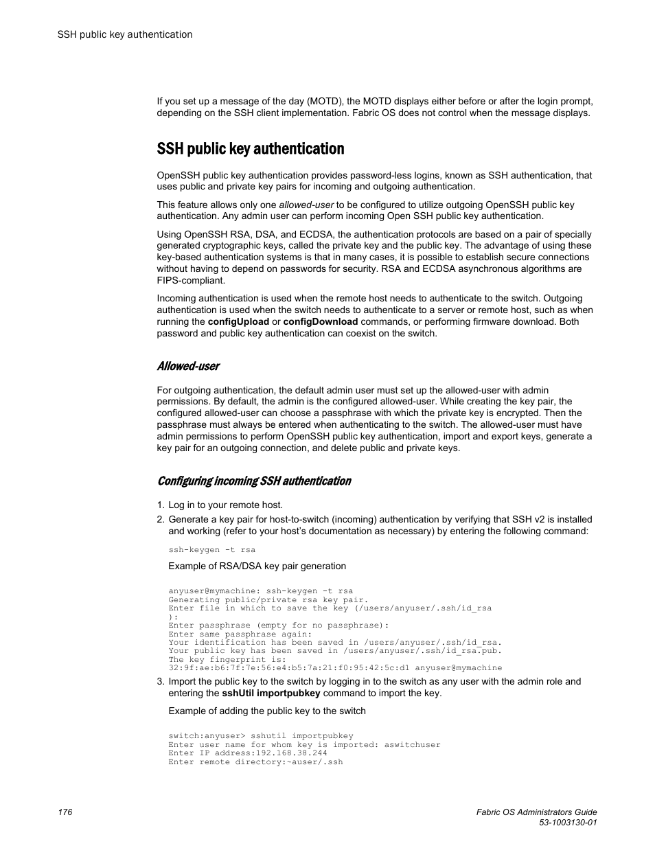 Ssh public key authentication, Allowed-user, Configuring