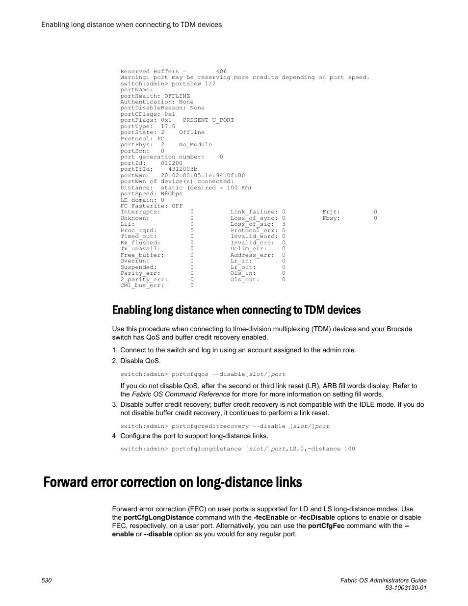 Forward error correction on long-distance links | Brocade