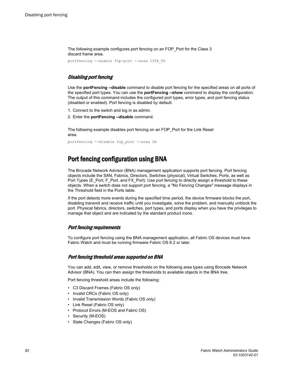 Disabling port fencing, Port fencing configuration using bna