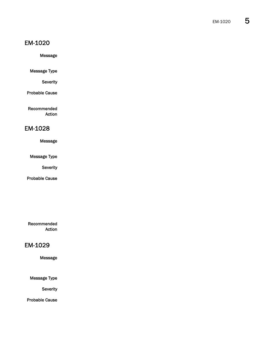 Em-1020, Em-1028, Em-1029 | Brocade Fabric OS Message