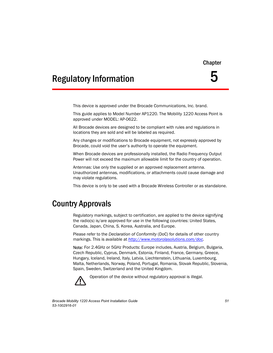 Regulatory Information Country Approvals Chapter 5 Brocade