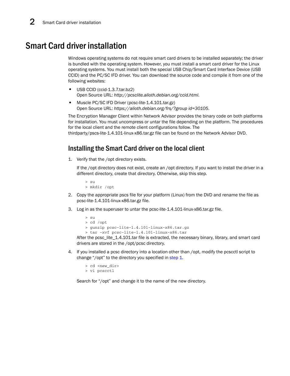 Smart card driver installation | Brocade Network Advisor