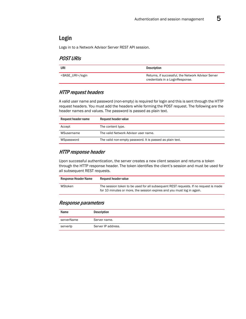 Login, Response parameters   Brocade Network Advisor REST API Guide