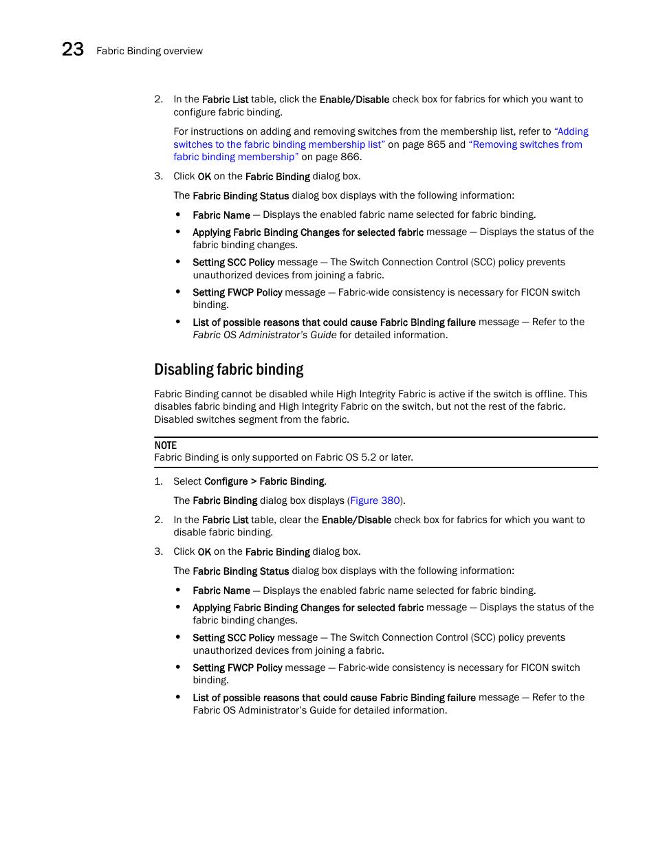Disabling fabric binding | Brocade Network Advisor SAN User Manual v12.1.0 User  Manual | Page 912 / 1690